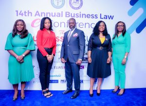 L-R, Christine Sijuwade, Chair, Venue & Accommodation, Adeola Ajayi, Secretary, CPC, Seni Adio, SAN, Chairman, NBA-SBL, Theodora Kio-Lawson, Chair, Media & Publicity, Ozofu Ogiemudia, Chair, Conference Planning Committee.